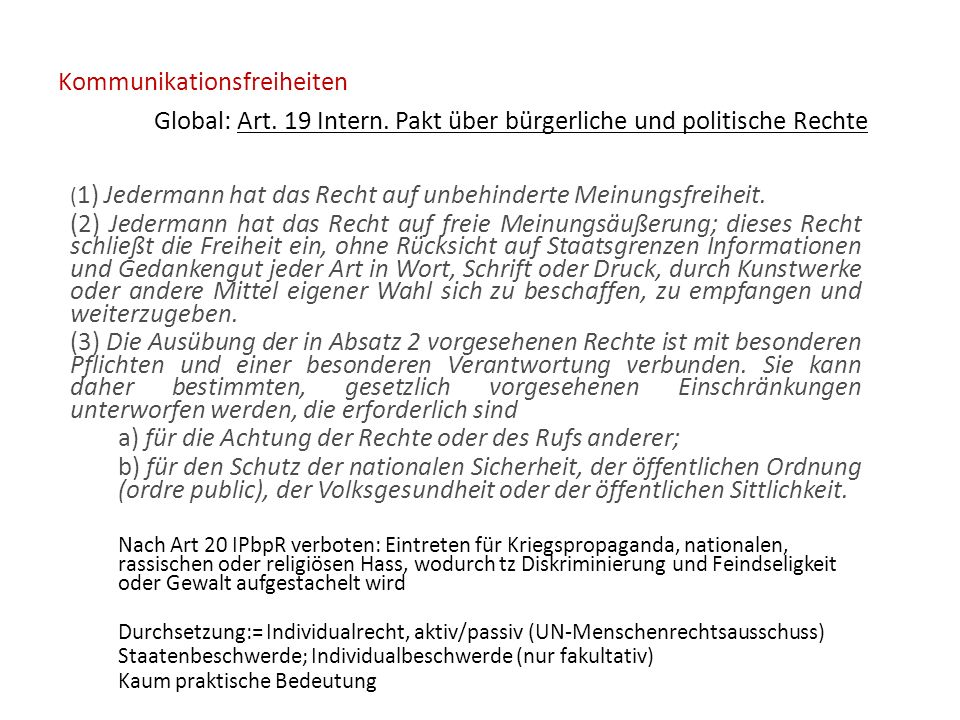 Kommunikationsfreiheiten Global: Art.19 Intern.
