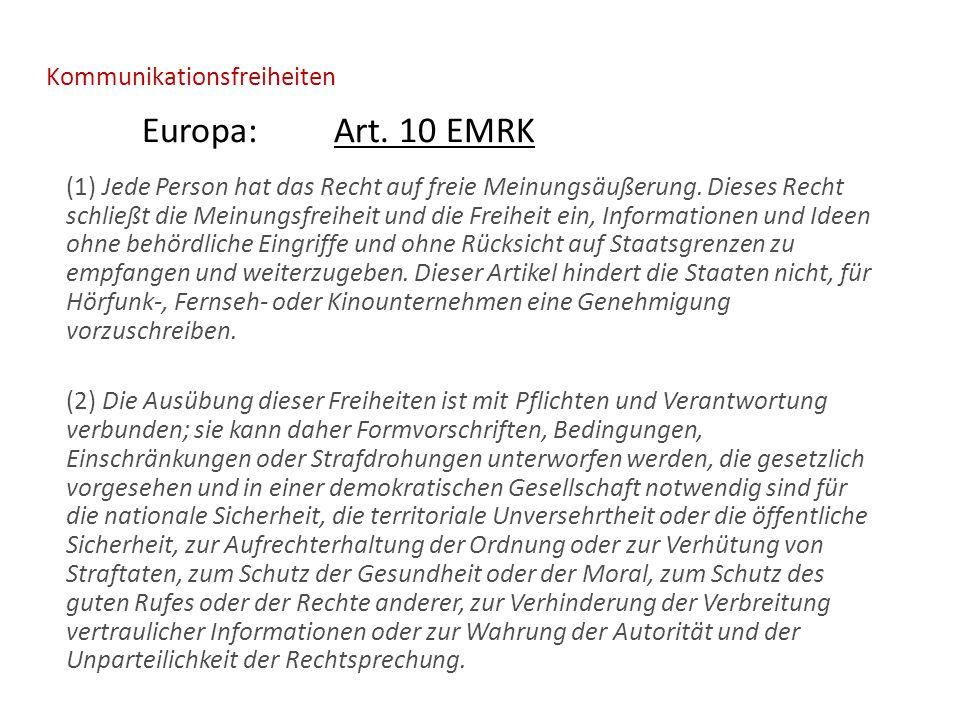Kommunikationsfreiheiten Europa:Art.