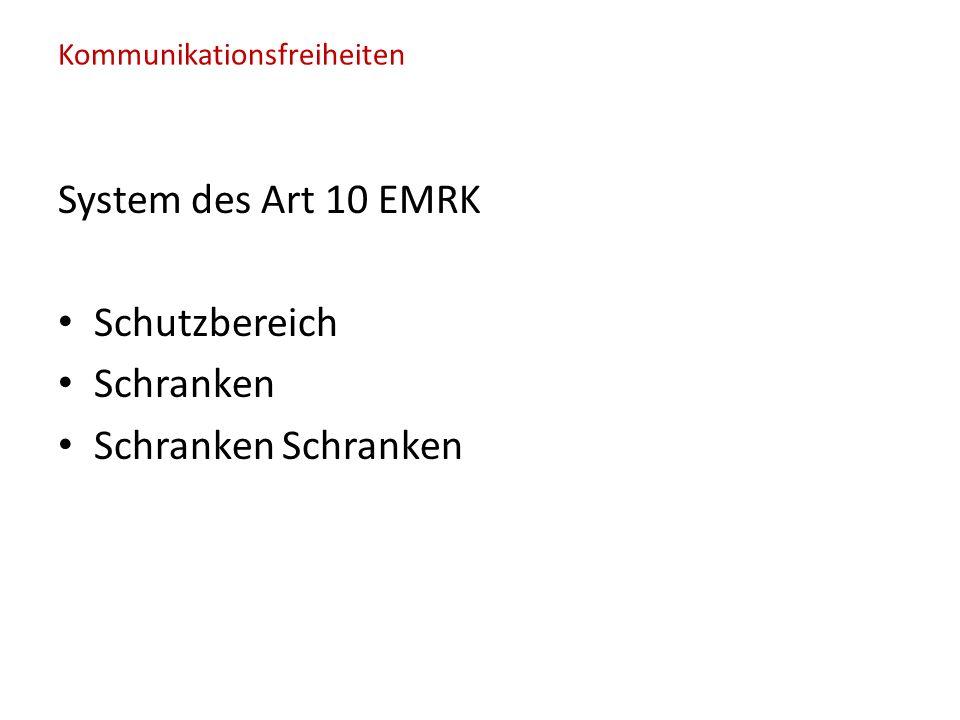 System des Art 10 EMRK Schutzbereich Schranken Schranken Schranken