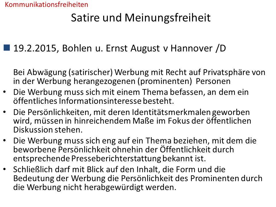 Satire und Meinungsfreiheit 19.2.2015, Bohlen u.