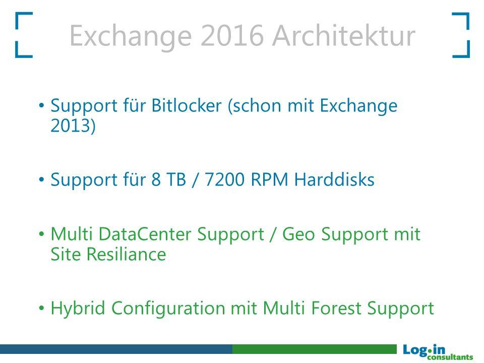 Exchange 2016 Architektur Support für Bitlocker (schon mit Exchange 2013) Support für 8 TB / 7200 RPM Harddisks Multi DataCenter Support / Geo Support