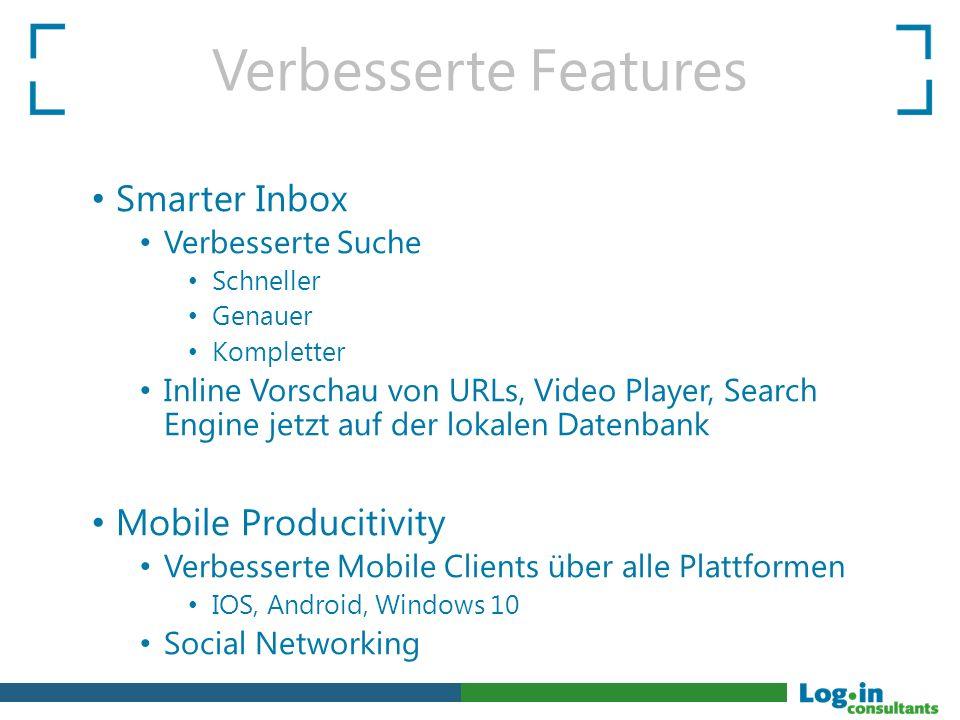 Smarter Inbox Verbesserte Suche Schneller Genauer Kompletter Inline Vorschau von URLs, Video Player, Search Engine jetzt auf der lokalen Datenbank Mob