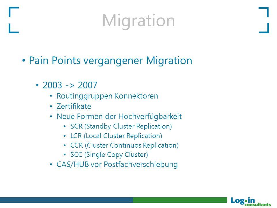 Pain Points vergangener Migration 2003 -> 2007 Routinggruppen Konnektoren Zertifikate Neue Formen der Hochverfügbarkeit SCR (Standby Cluster Replicati
