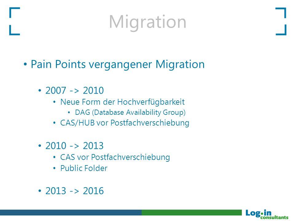 Migration Pain Points vergangener Migration 2007 -> 2010 Neue Form der Hochverfügbarkeit DAG (Database Availability Group) CAS/HUB vor Postfachverschi