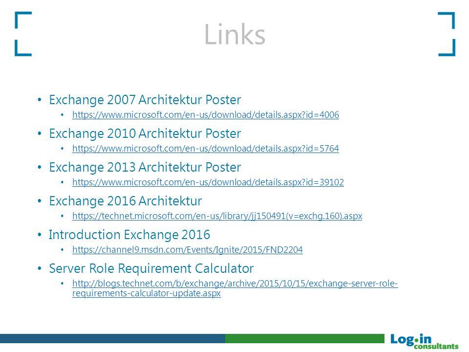 Links Exchange 2007 Architektur Poster https://www.microsoft.com/en-us/download/details.aspx?id=4006 Exchange 2010 Architektur Poster https://www.micr