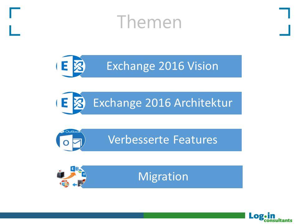 Themen Exchange 2016 Architektur Verbesserte Features Migration Exchange 2016 Vision