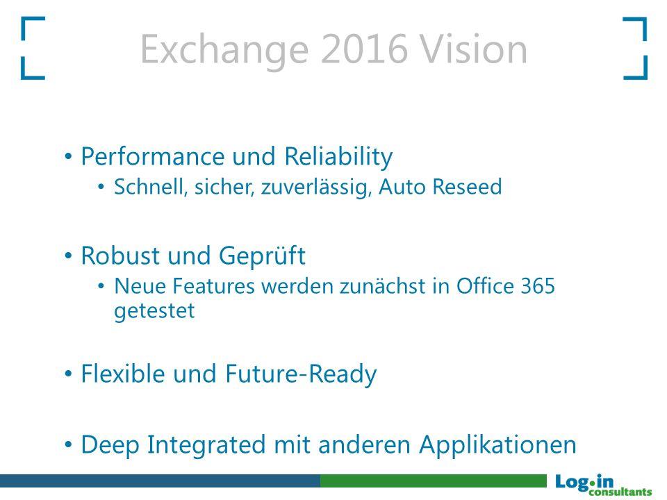 Performance und Reliability Schnell, sicher, zuverlässig, Auto Reseed Robust und Geprüft Neue Features werden zunächst in Office 365 getestet Flexible