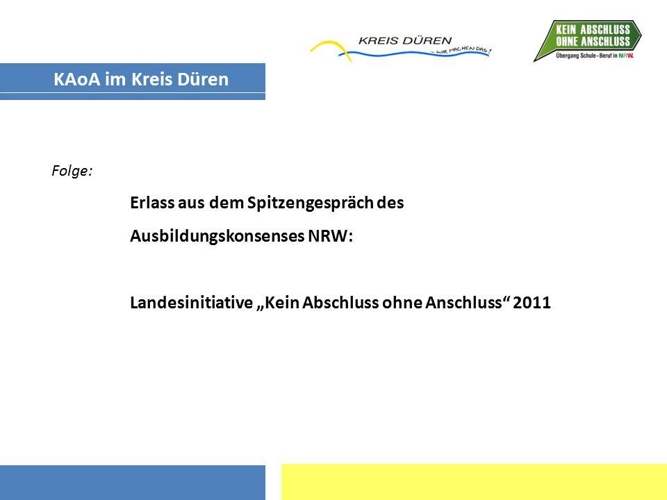 """Landesinitiative """"Kein Abschluss ohne Anschluss - KAoA (Gemeinschaftsinitiative des Landes NRW – MAIS und MSW, Agentur für Arbeit, Kammern und Verbände) ZielAlle SchülerInnen erhalten ab der 8."""
