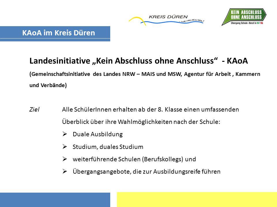 """Landesinitiative """"Kein Abschluss ohne Anschluss"""" - KAoA (Gemeinschaftsinitiative des Landes NRW – MAIS und MSW, Agentur für Arbeit, Kammern und Verbän"""