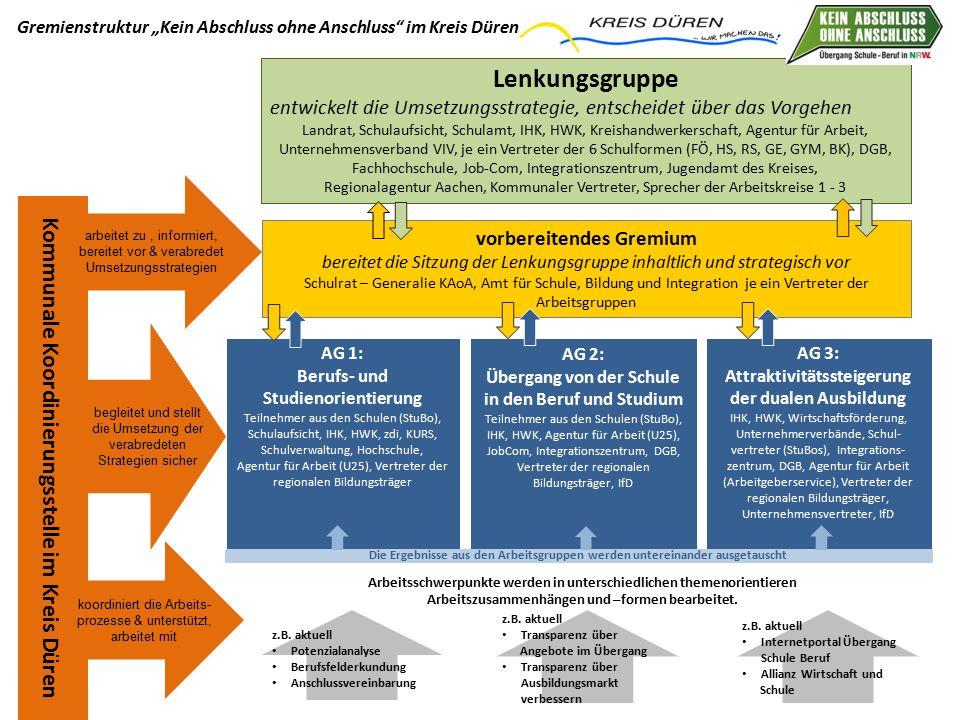 Lenkungsgruppe entwickelt die Umsetzungsstrategie, entscheidet über das Vorgehen Landrat, Schulaufsicht, Schulamt, IHK, HWK, Kreishandwerkerschaft, Ag