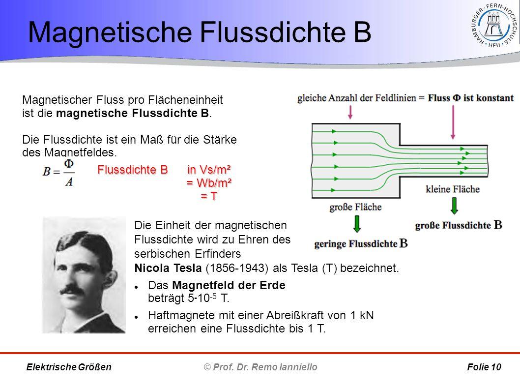 Magnetische Flussdichte B © Prof. Dr. Remo Ianniello Folie 10 Elektrische Größen Magnetischer Fluss pro Flächeneinheit ist die magnetische Flussdichte