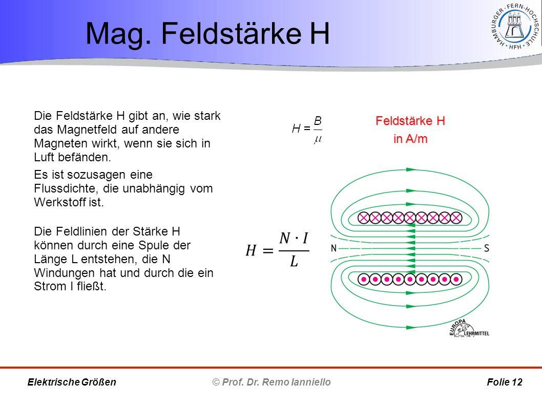 Mag. Feldstärke H © Prof. Dr. Remo Ianniello Folie 12 Elektrische Größen Feldstärke H in A/m Die Feldstärke H gibt an, wie stark das Magnetfeld auf an