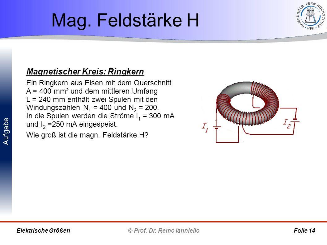 Aufgabe Mag. Feldstärke H © Prof. Dr. Remo Ianniello Folie 14 Elektrische Größen Magnetischer Kreis: Ringkern Ein Ringkern aus Eisen mit dem Querschni