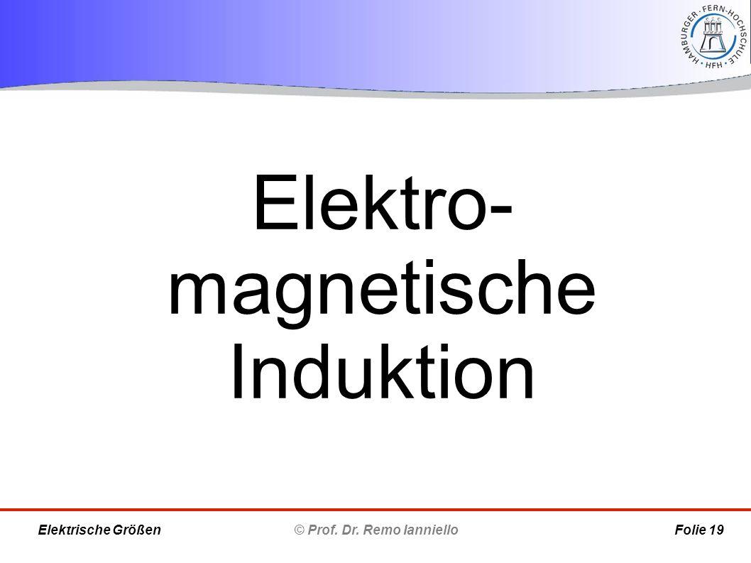 Elektro- magnetische Induktion © Prof. Dr. Remo Ianniello Folie 19 Elektrische Größen