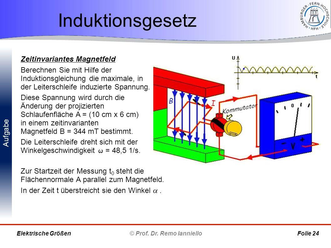 Aufgabe Induktionsgesetz © Prof. Dr. Remo Ianniello Folie 24 Elektrische Größen Zeitinvariantes Magnetfeld Berechnen Sie mit Hilfe der Induktionsgleic
