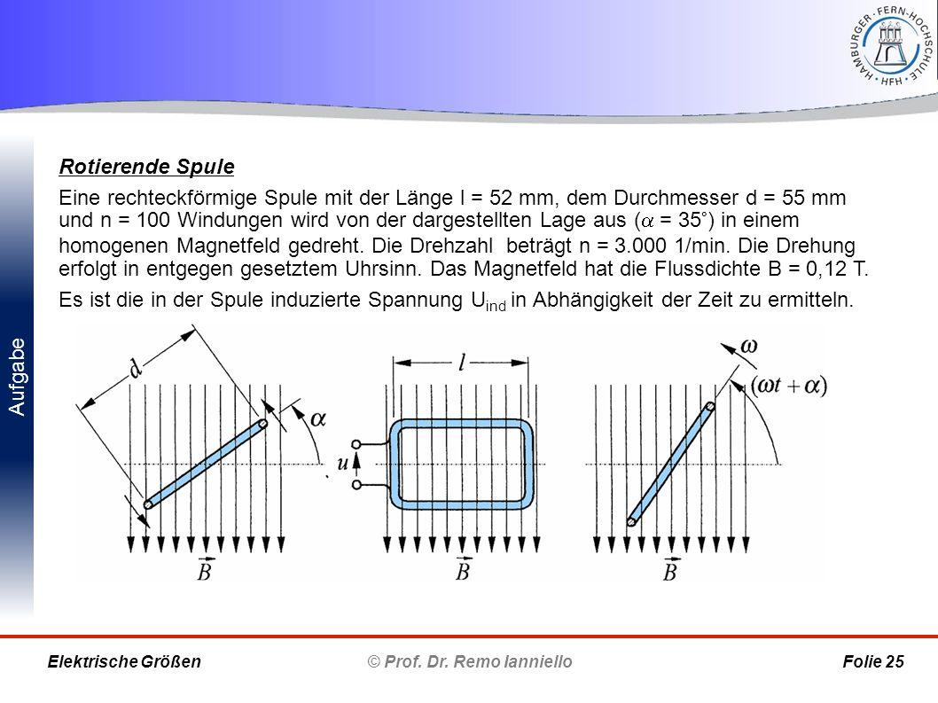 Aufgabe © Prof. Dr. Remo Ianniello Folie 25 Elektrische Größen Rotierende Spule Eine rechteckförmige Spule mit der Länge l = 52 mm, dem Durchmesser d