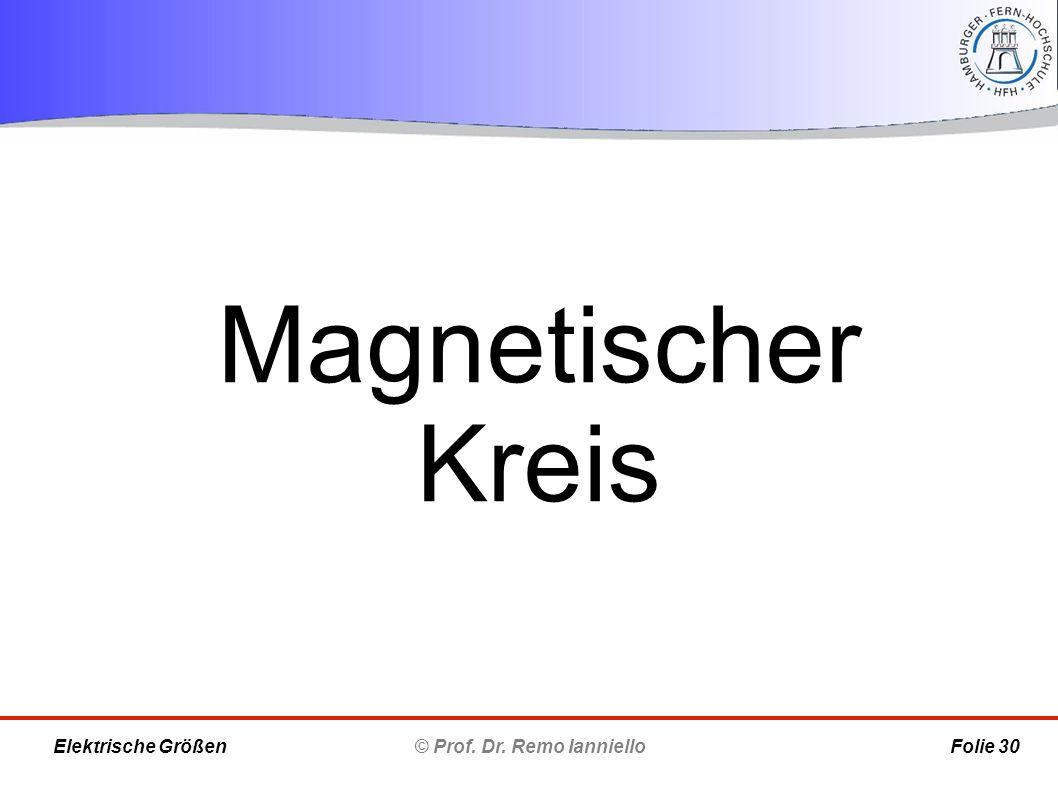 Magnetischer Kreis © Prof. Dr. Remo Ianniello Folie 30 Elektrische Größen