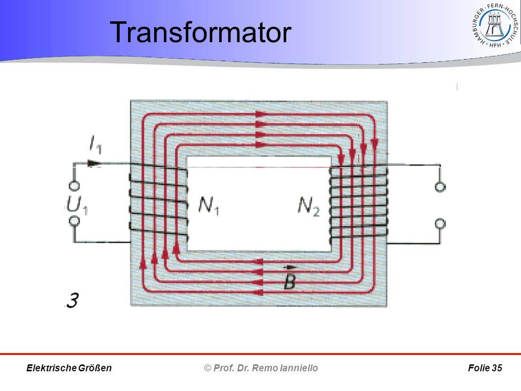 Transformator © Prof. Dr. Remo Ianniello Folie 35 Elektrische Größen