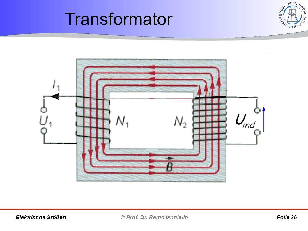Transformator © Prof. Dr. Remo Ianniello Folie 36 Elektrische Größen