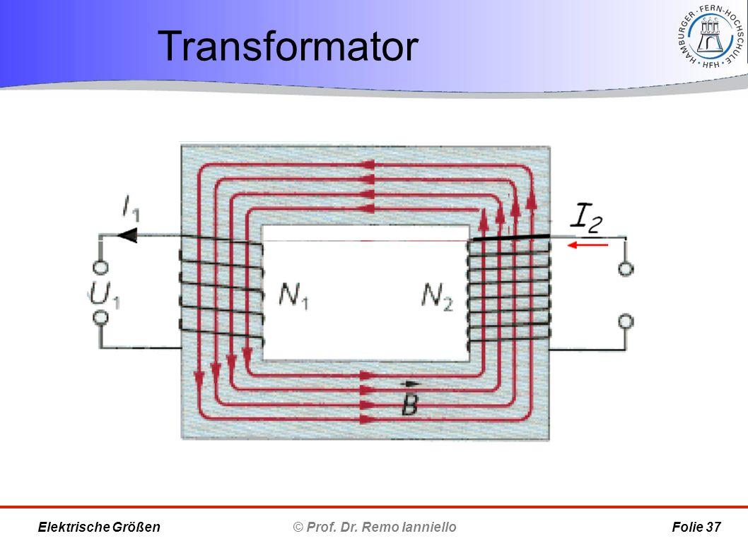 Transformator © Prof. Dr. Remo Ianniello Folie 37 Elektrische Größen