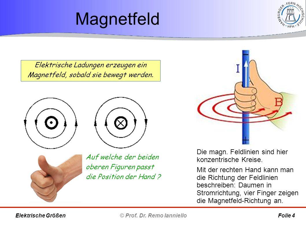 Magnetfeld © Prof. Dr. Remo Ianniello Folie 4 Elektrische Größen Elektrische Ladungen erzeugen ein Magnetfeld, sobald sie bewegt werden. Die magn. Fel