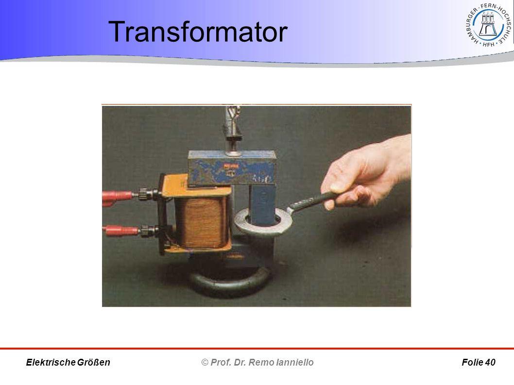 Transformator © Prof. Dr. Remo Ianniello Folie 40 Elektrische Größen