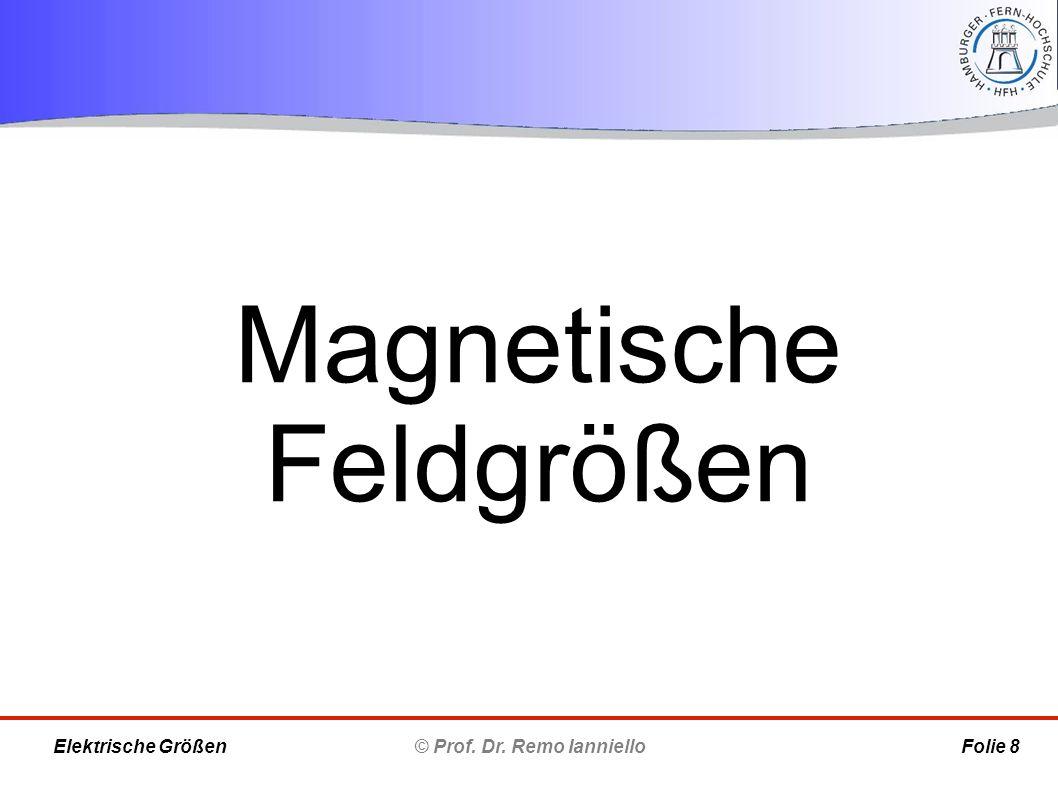 Magnetische Feldgrößen © Prof. Dr. Remo Ianniello Folie 8 Elektrische Größen