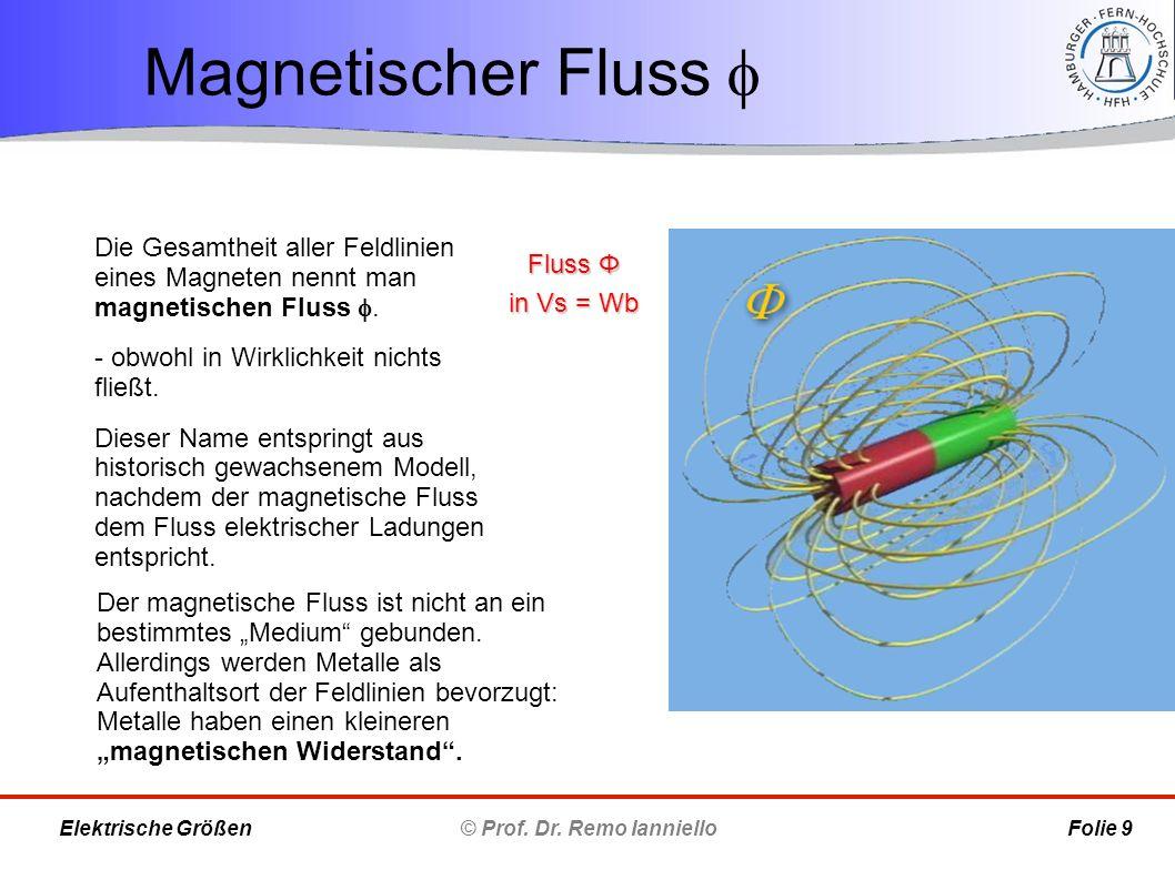 Magnetischer Fluss  © Prof. Dr. Remo Ianniello Folie 9 Elektrische Größen Die Gesamtheit aller Feldlinien eines Magneten nennt man magnetischen Fluss