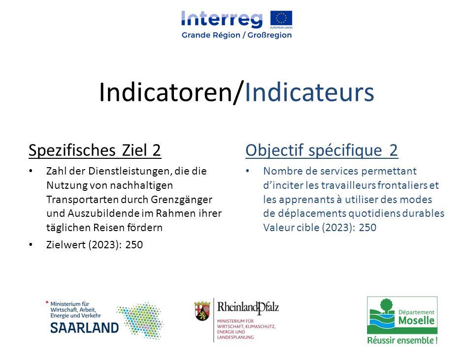 Indicatoren/Indicateurs Spezifisches Ziel 2 Zahl der Dienstleistungen, die die Nutzung von nachhaltigen Transportarten durch Grenzgänger und Auszubild
