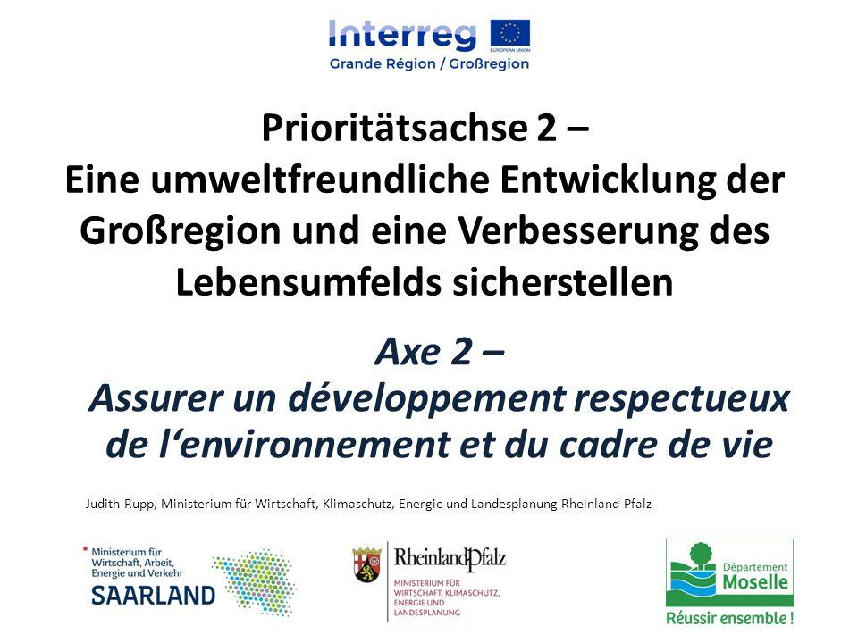 Prioritätsachse 2 – Eine umweltfreundliche Entwicklung der Großregion und eine Verbesserung des Lebensumfelds sicherstellen Axe 2 – Assurer un dévelop