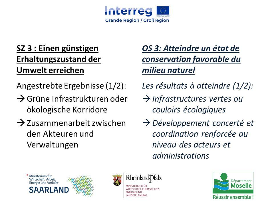 SZ 3 : Einen günstigen Erhaltungszustand der Umwelt erreichen Angestrebte Ergebnisse (1/2):  Grüne Infrastrukturen oder ökologische Korridore  Zusam