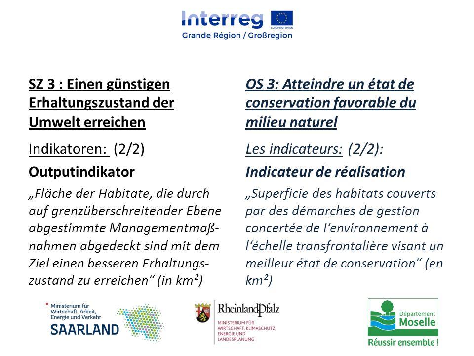 """SZ 3 : Einen günstigen Erhaltungszustand der Umwelt erreichen Indikatoren: (2/2) Outputindikator """"Fläche der Habitate, die durch auf grenzüberschreite"""