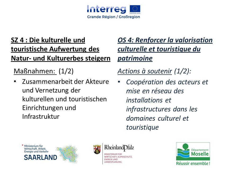 Maßnahmen: (1/2) Zusammenarbeit der Akteure und Vernetzung der kulturellen und touristischen Einrichtungen und Infrastruktur Actions à soutenir (1/2):