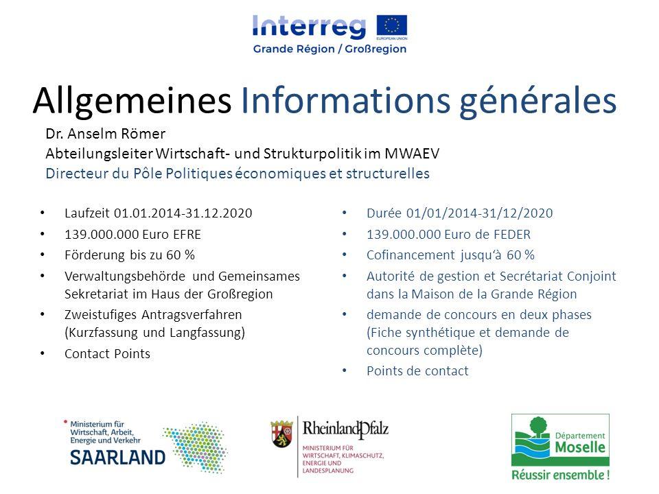 Allgemeines Informations générales Laufzeit 01.01.2014-31.12.2020 139.000.000 Euro EFRE Förderung bis zu 60 % Verwaltungsbehörde und Gemeinsames Sekre