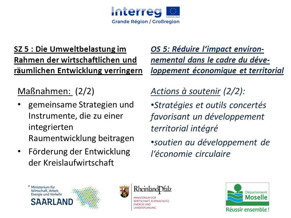 Maßnahmen: (2/2) gemeinsame Strategien und Instrumente, die zu einer integrierten Raumentwicklung beitragen Förderung der Entwicklung der Kreislaufwir