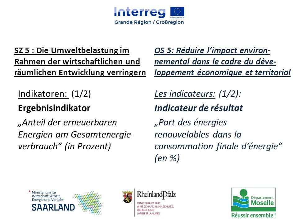"Indikatoren: (1/2) Ergebnisindikator ""Anteil der erneuerbaren Energien am Gesamtenergie- verbrauch"" (in Prozent) Les indicateurs: (1/2): Indicateur de"
