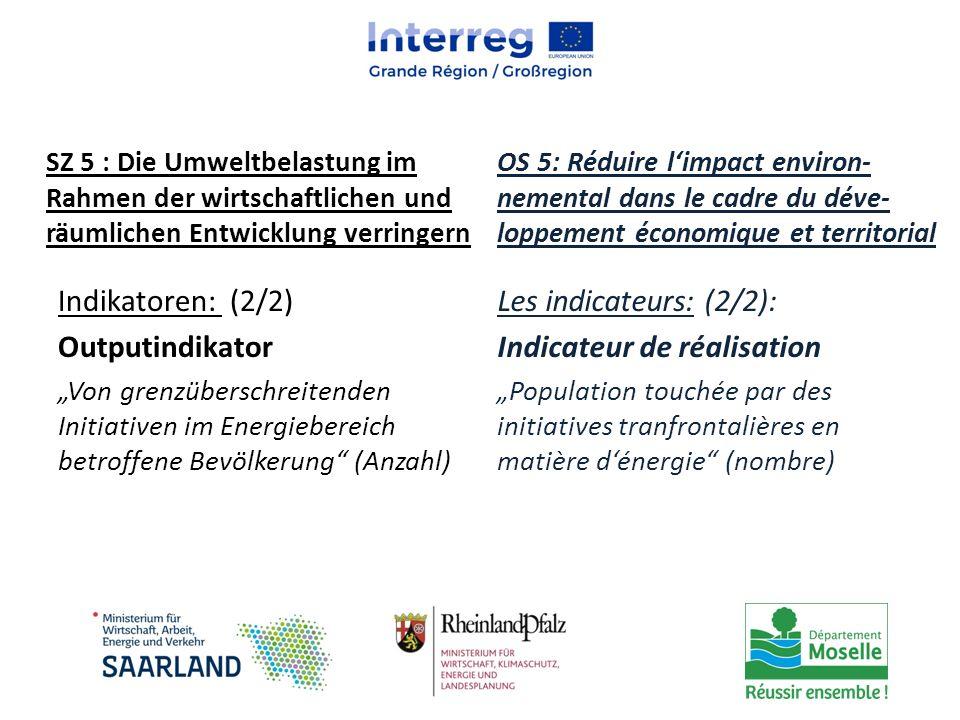 """Indikatoren: (2/2) Outputindikator """"Von grenzüberschreitenden Initiativen im Energiebereich betroffene Bevölkerung"""" (Anzahl) Les indicateurs: (2/2): I"""