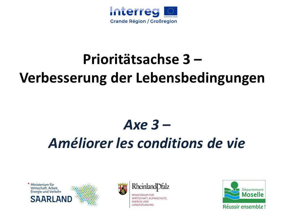 Prioritätsachse 3 – Verbesserung der Lebensbedingungen Axe 3 – Améliorer les conditions de vie