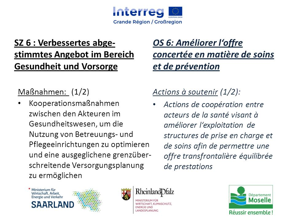 Maßnahmen: (1/2) Kooperationsmaßnahmen zwischen den Akteuren im Gesundheitswesen, um die Nutzung von Betreuungs- und Pflegeeinrichtungen zu optimieren