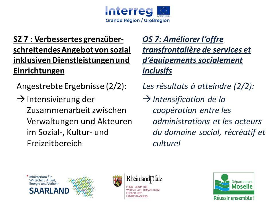 Angestrebte Ergebnisse (2/2):  Intensivierung der Zusammenarbeit zwischen Verwaltungen und Akteuren im Sozial-, Kultur- und Freizeitbereich Les résul