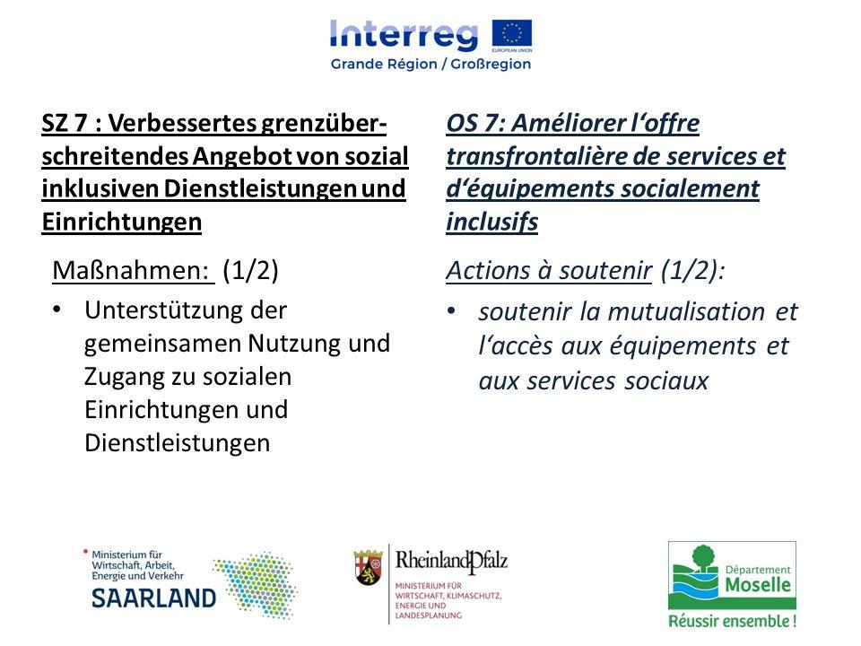 Maßnahmen: (1/2) Unterstützung der gemeinsamen Nutzung und Zugang zu sozialen Einrichtungen und Dienstleistungen Actions à soutenir (1/2): soutenir la