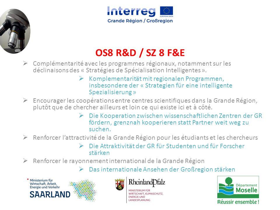  Complémentarité avec les programmes régionaux, notamment sur les déclinaisons des « Stratégies de Spécialisation Intelligentes ».  Komplementarität