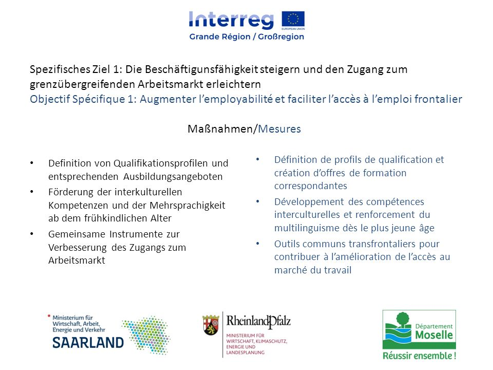 Spezifisches Ziel 1: Die Beschäftigunsfähigkeit steigern und den Zugang zum grenzübergreifenden Arbeitsmarkt erleichtern Objectif Spécifique 1: Augmen