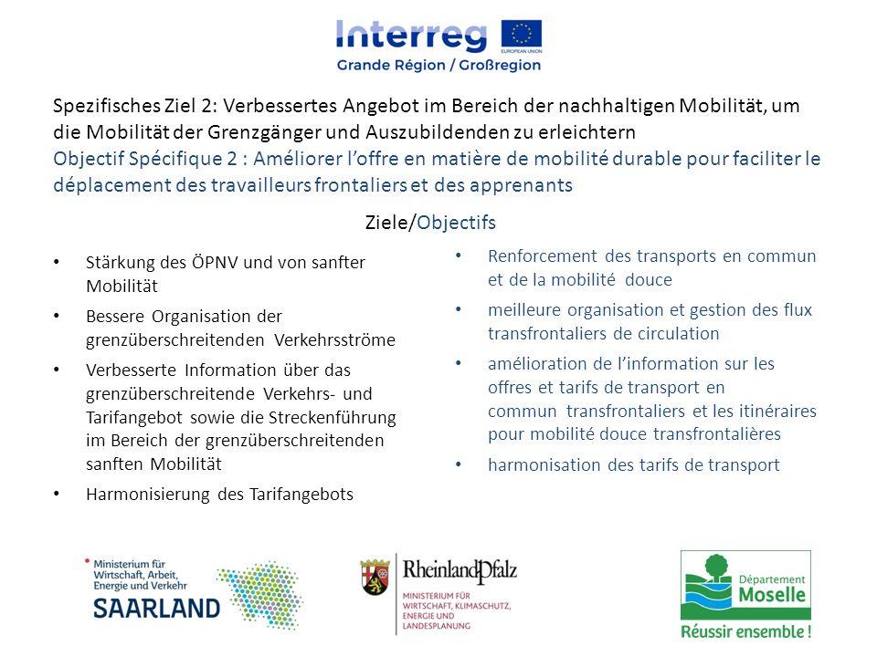 Spezifisches Ziel 2: Verbessertes Angebot im Bereich der nachhaltigen Mobilität, um die Mobilität der Grenzgänger und Auszubildenden zu erleichtern Ob