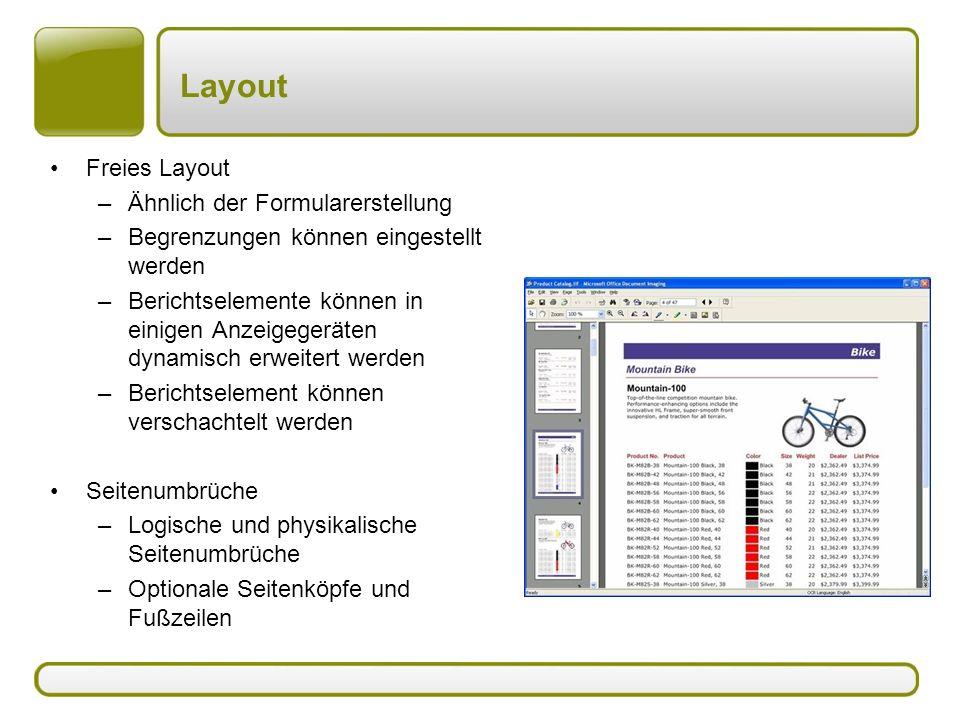 Layout Freies Layout –Ähnlich der Formularerstellung –Begrenzungen können eingestellt werden –Berichtselemente können in einigen Anzeigegeräten dynami