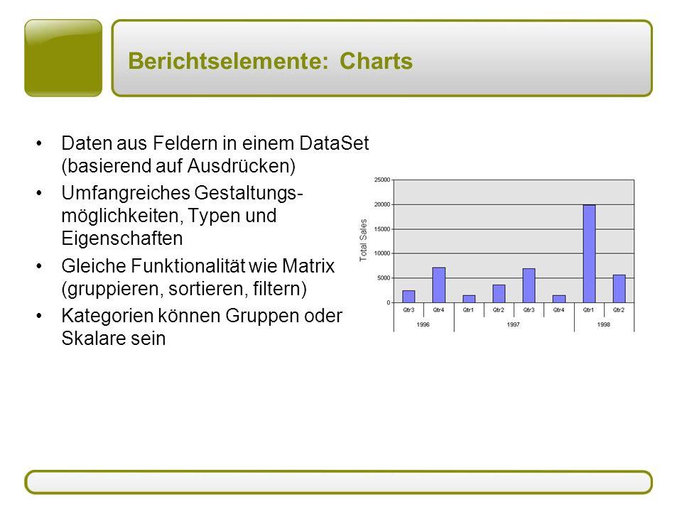 Berichtselemente: Charts Daten aus Feldern in einem DataSet (basierend auf Ausdrücken) Umfangreiches Gestaltungs- möglichkeiten, Typen und Eigenschaften Gleiche Funktionalität wie Matrix (gruppieren, sortieren, filtern) Kategorien können Gruppen oder Skalare sein