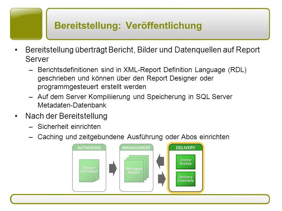 Bereitstellung: Veröffentlichung Bereitstellung überträgt Bericht, Bilder und Datenquellen auf Report Server –Berichtsdefinitionen sind in XML-Report