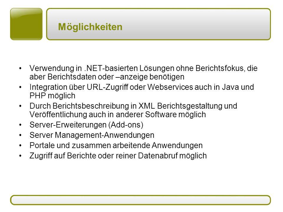 Möglichkeiten Verwendung in.NET-basierten Lösungen ohne Berichtsfokus, die aber Berichtsdaten oder –anzeige benötigen Integration über URL-Zugriff ode