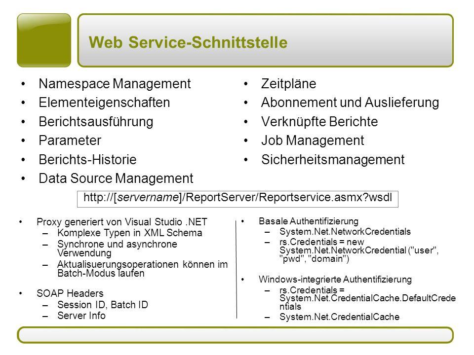 Web Service-Schnittstelle Namespace Management Elementeigenschaften Berichtsausführung Parameter Berichts-Historie Data Source Management Zeitpläne Ab