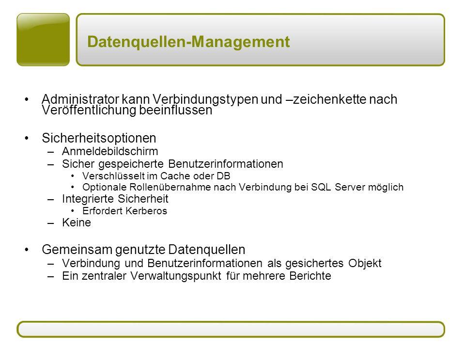Datenquellen-Management Administrator kann Verbindungstypen und –zeichenkette nach Veröffentlichung beeinflussen Sicherheitsoptionen –Anmeldebildschir